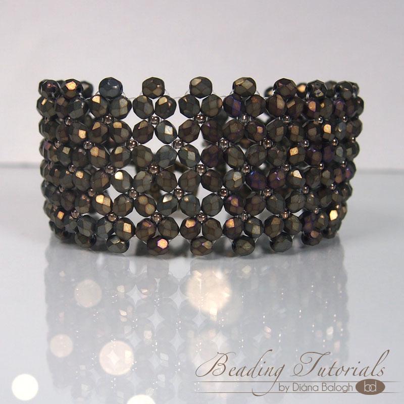Flat Chenille Stitch beading pattern, Flat Chenille Net Bracelet tutorial
