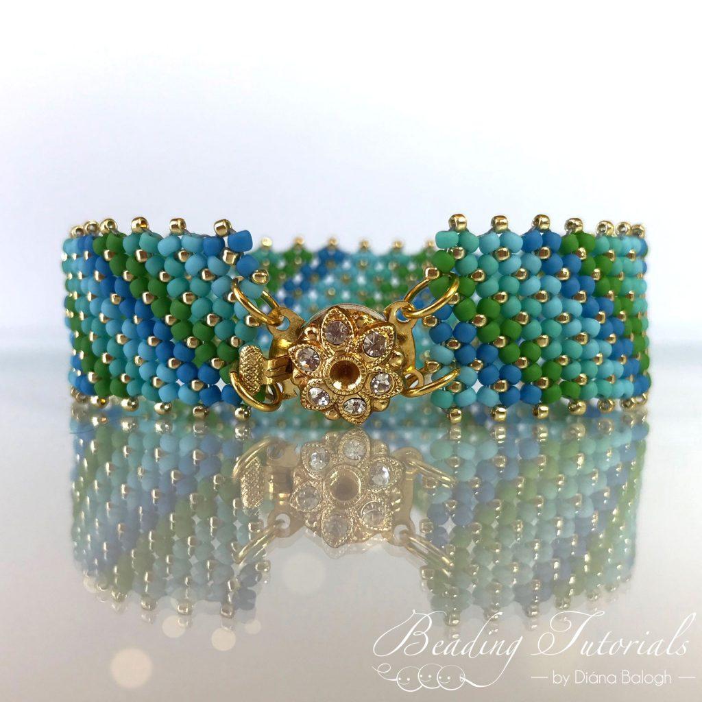 Flat Chenille Stitch Bracelet beading tutorial - Nadia bracelet