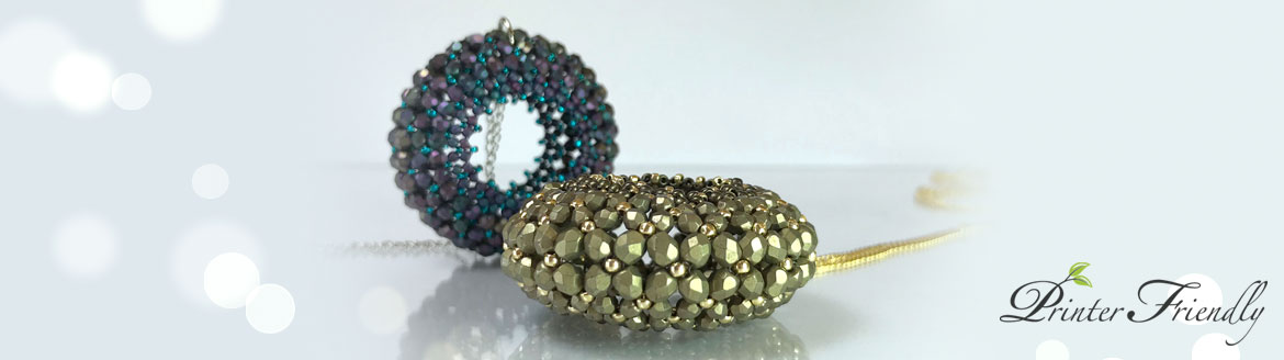 Infinty Lace Pendant beading tutorial Flat Chenille Stitch tutorial by Diána Balogh